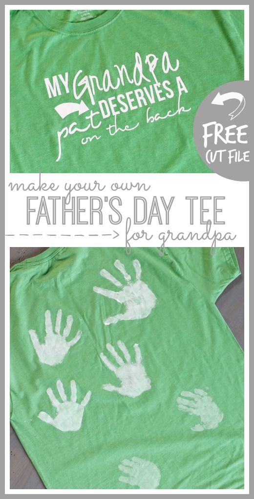 father's day tee for grandpa free cut file handprint tshirt