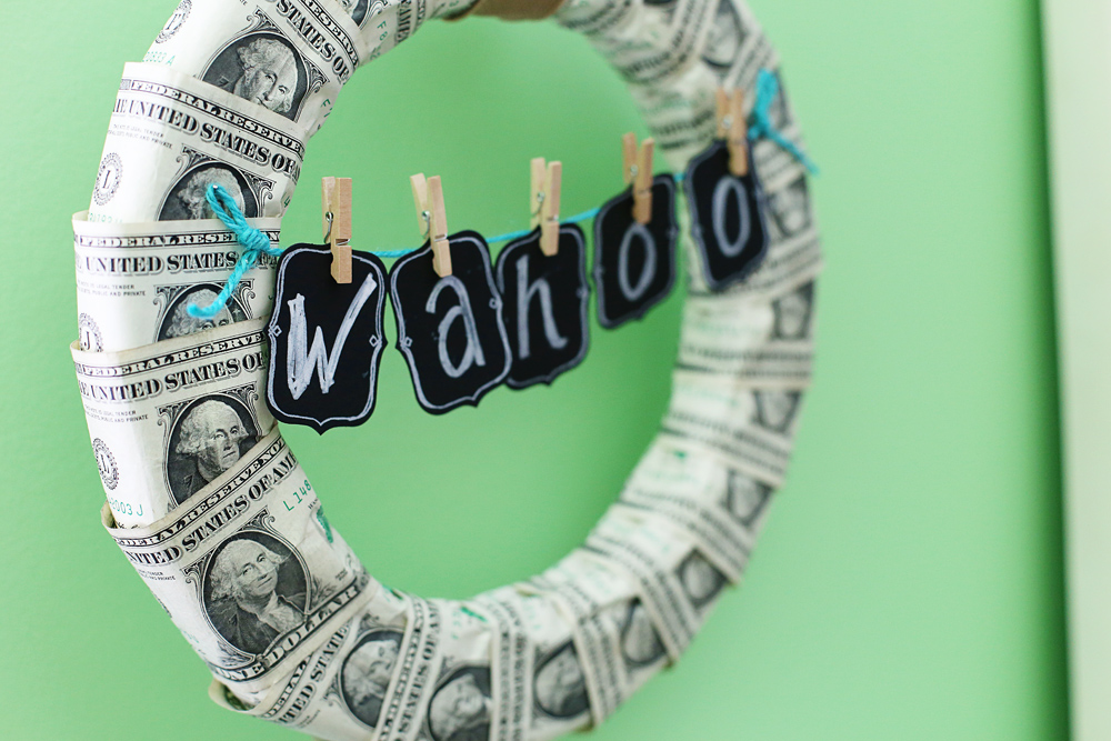 money wreath banner