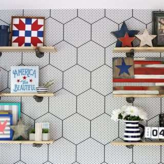 Open Shelving Patriotic Decor