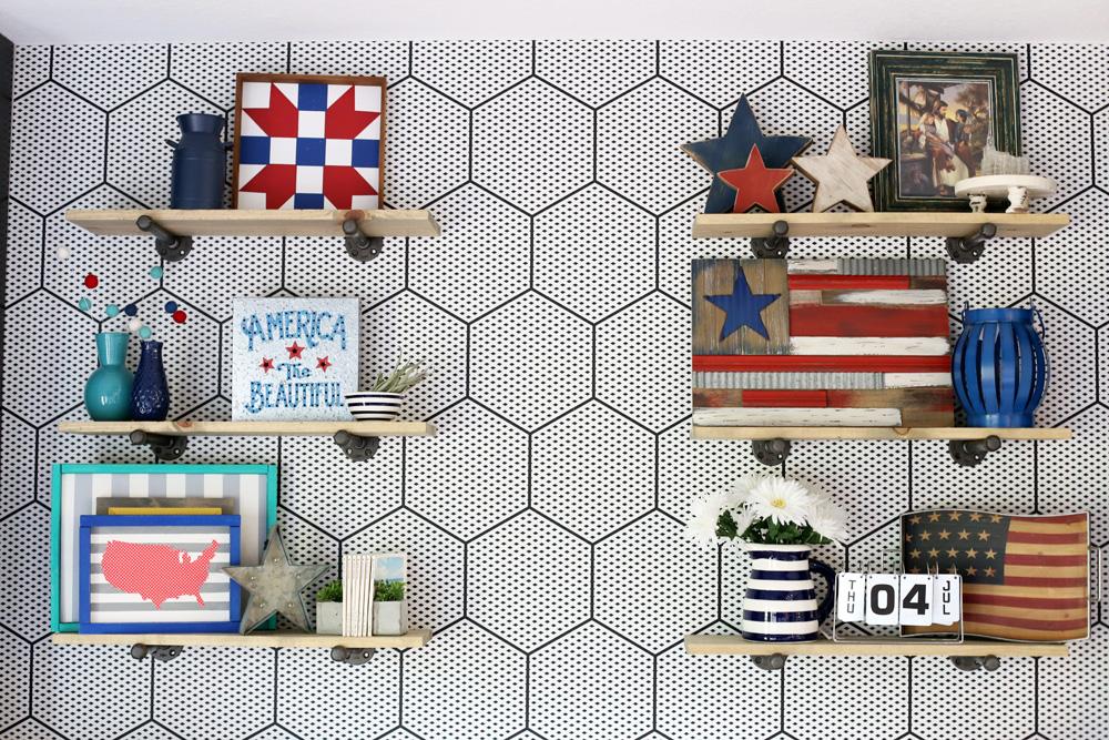 Open Shelving Patriotic Decor