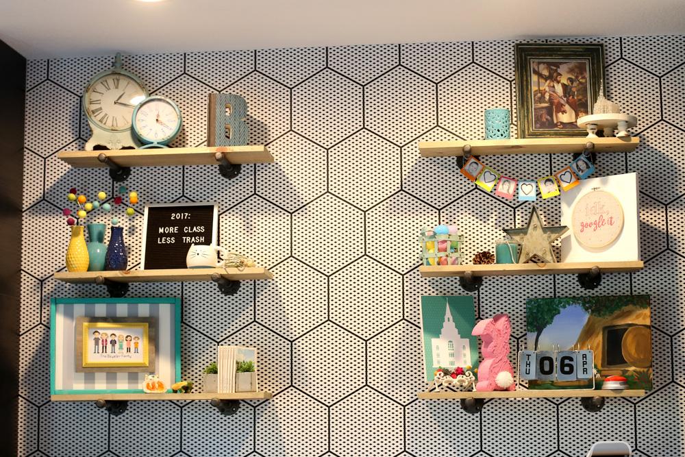 open shelves before