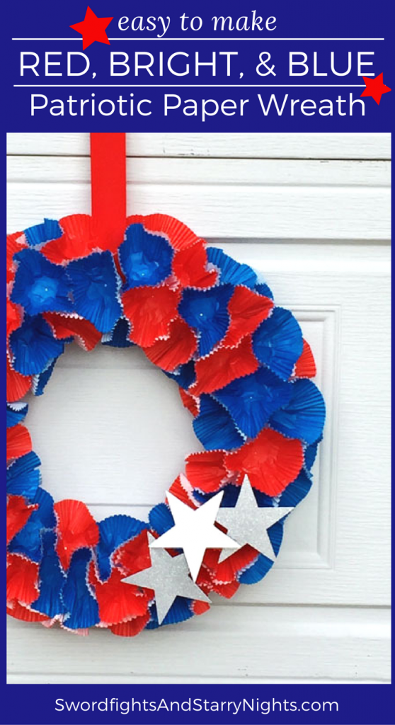 Easy to make Red, Bright, & Blue Patriotic Paper Wreath, cupcake wrappers, 4th of July, Summer, DIY, Craft, quick, 30 minute, cute, festive, PT Blue