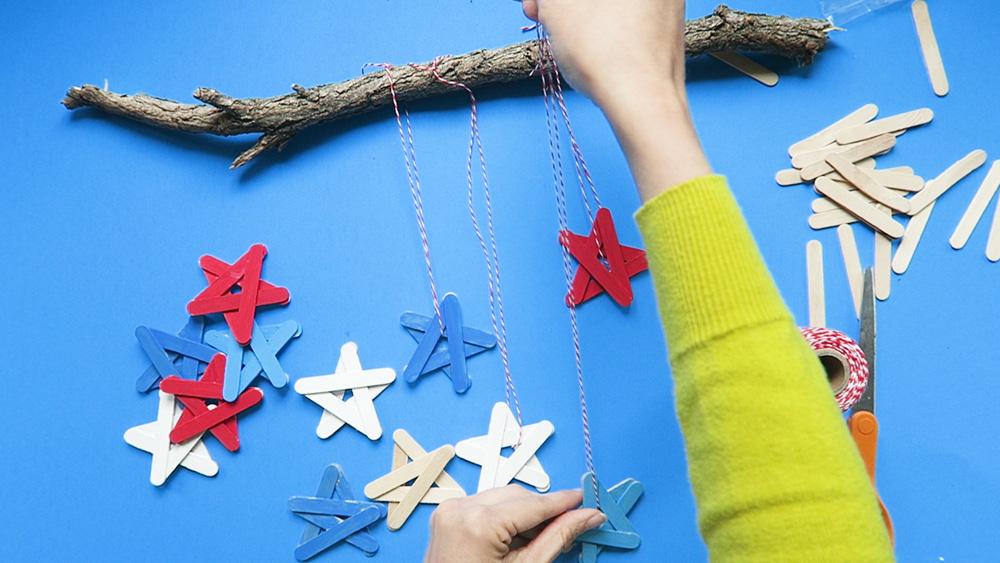 hanging craft stick stars