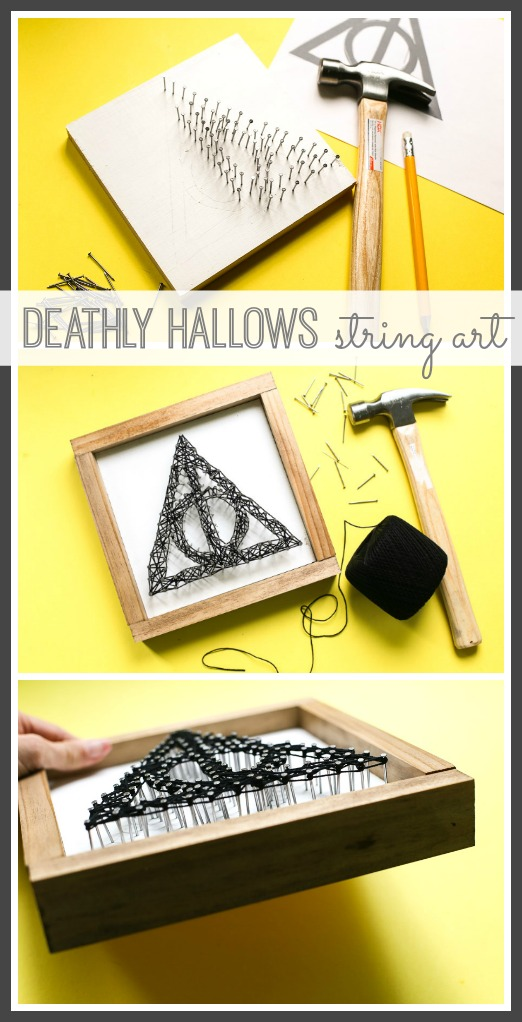 how to make your own deathly hallows string art