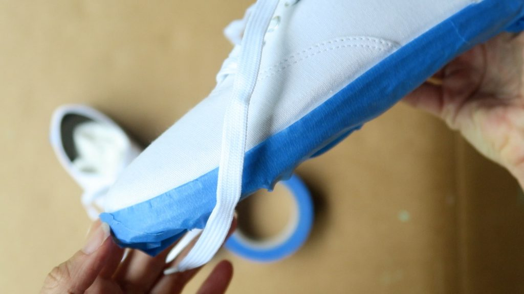 paint shoes tape off