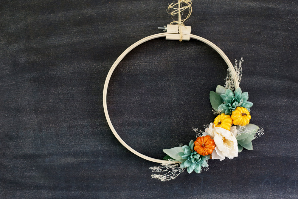 embroidery hoop fall wreath idea diy