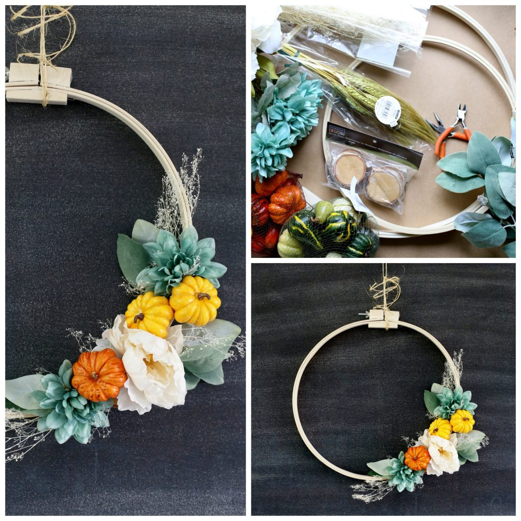 fall hoop wreath collage