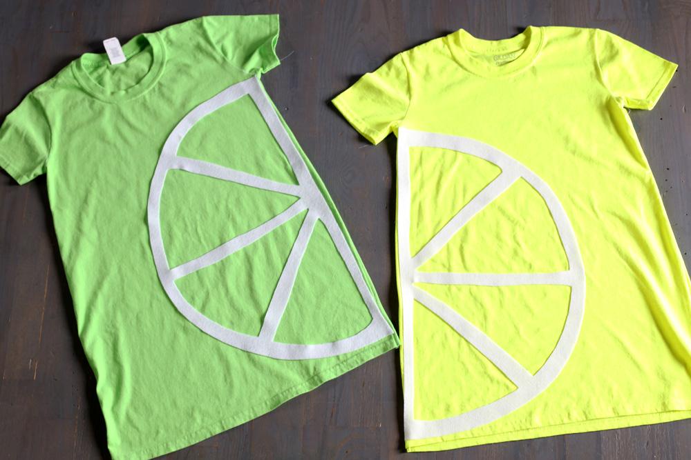 lemon lime tshirt costume no sew