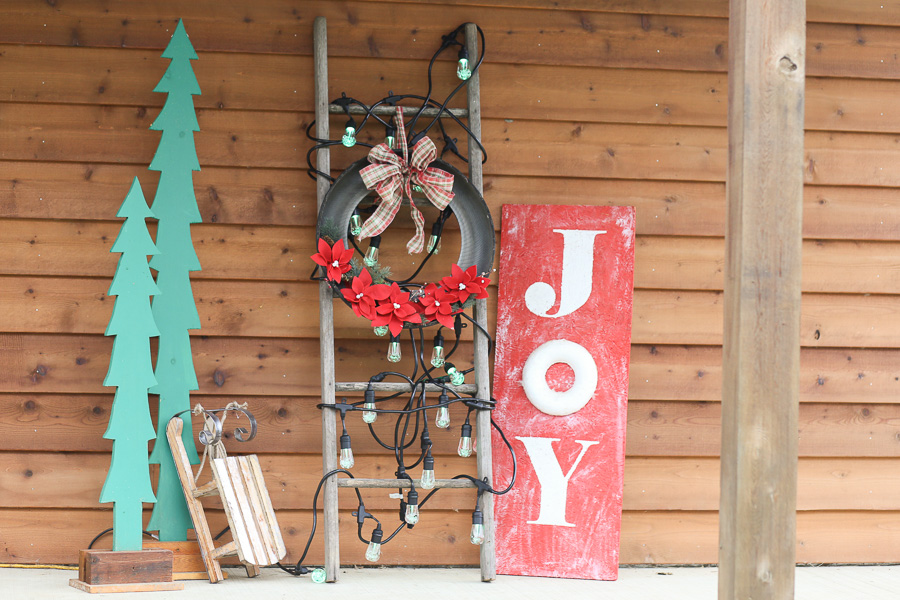 Holiday Porch Decor with Cafe Lights