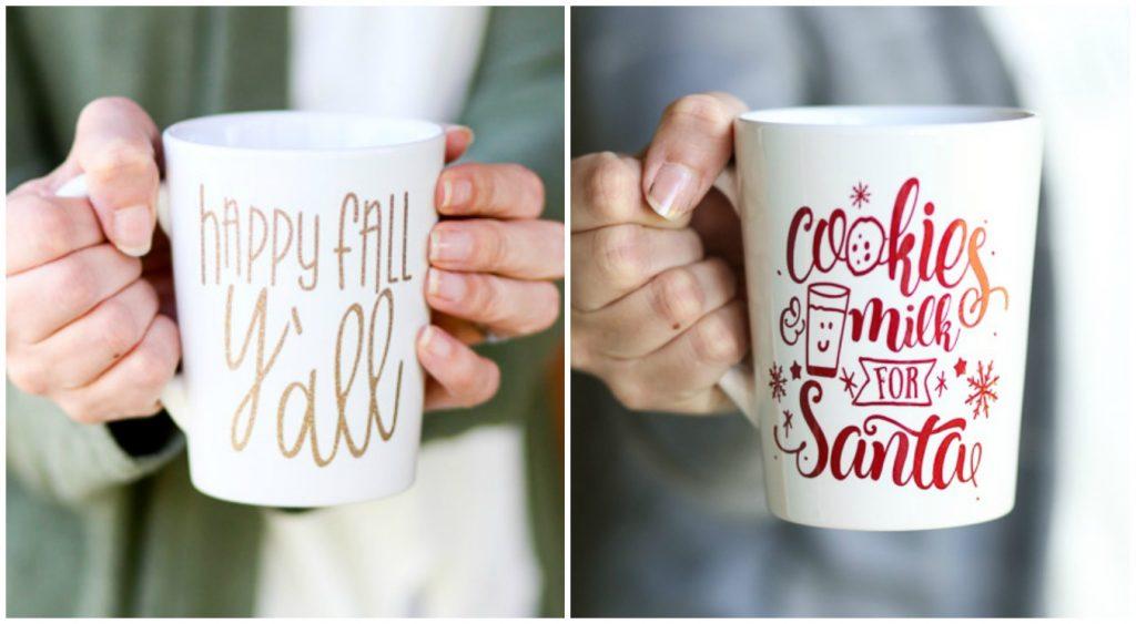 happy fall mug, cookies milk mug santa cut file