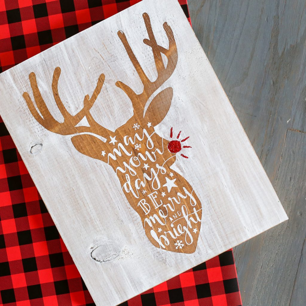 Reindeer stained stenciled sign-3