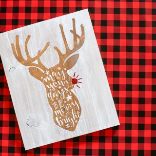 Reindeer stained stenciled sign 4