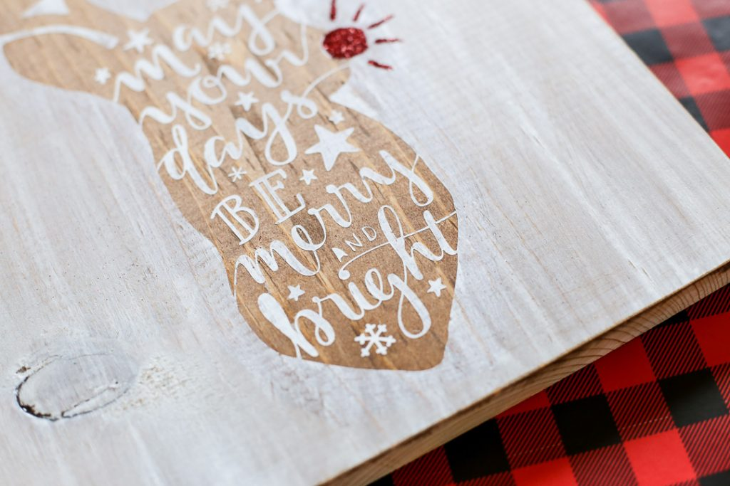 Reindeer stained stenciled sign-6