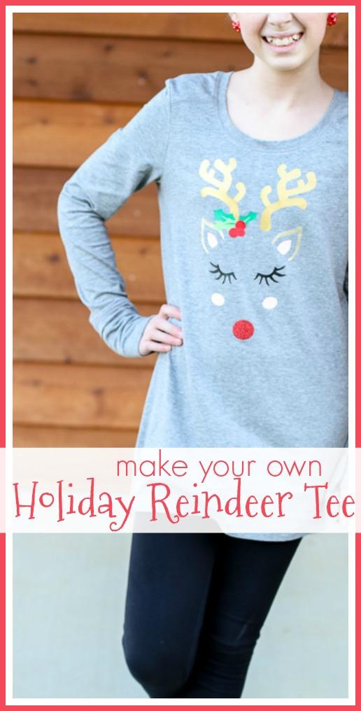 holiday reindeer tee cut file vinyl
