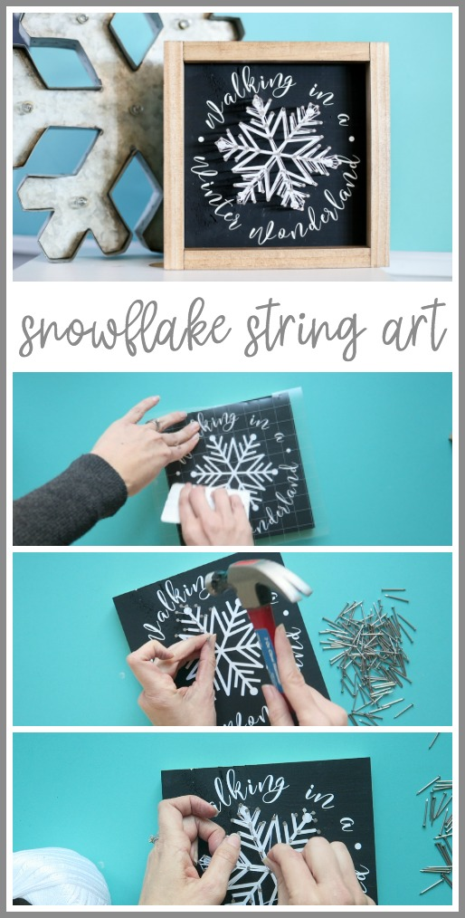 how to make snowflake string art