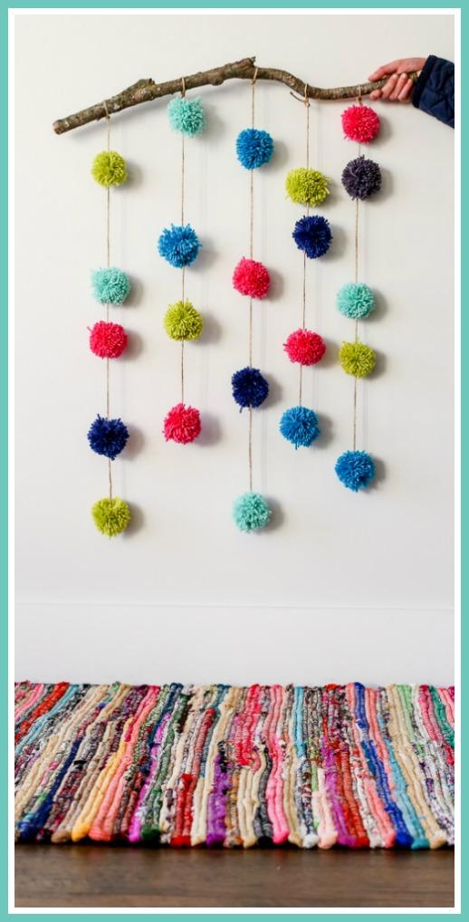 pom pom craft wall hanging