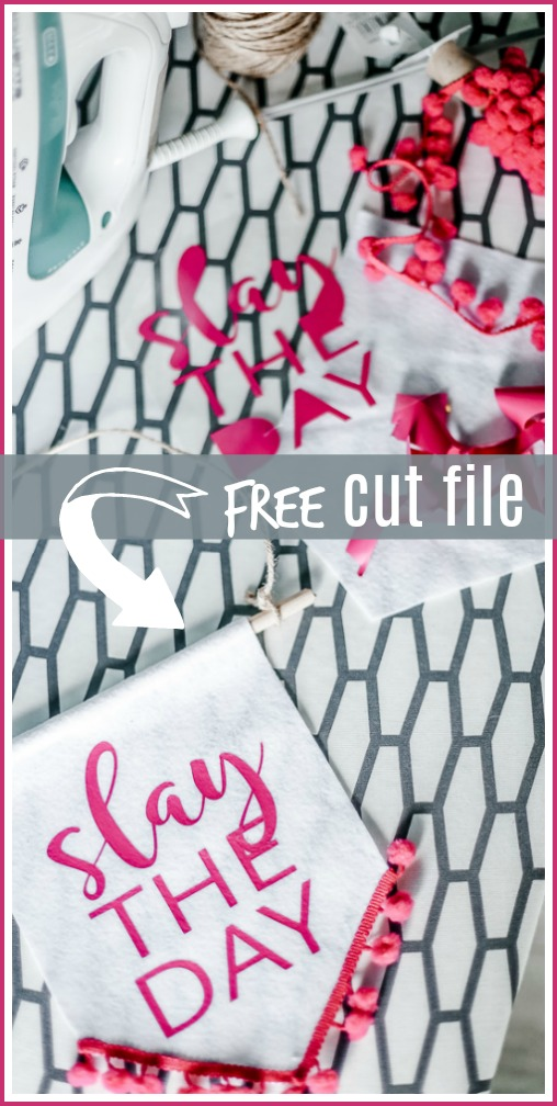 slay the day banner cut file svg silhouette