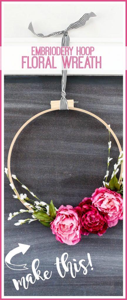 spring wreath idea round hoop