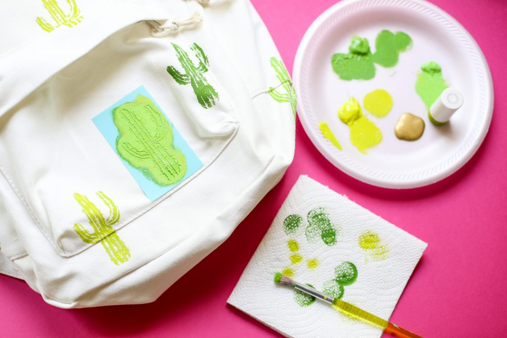 Diy craft backpack idea cactus 2