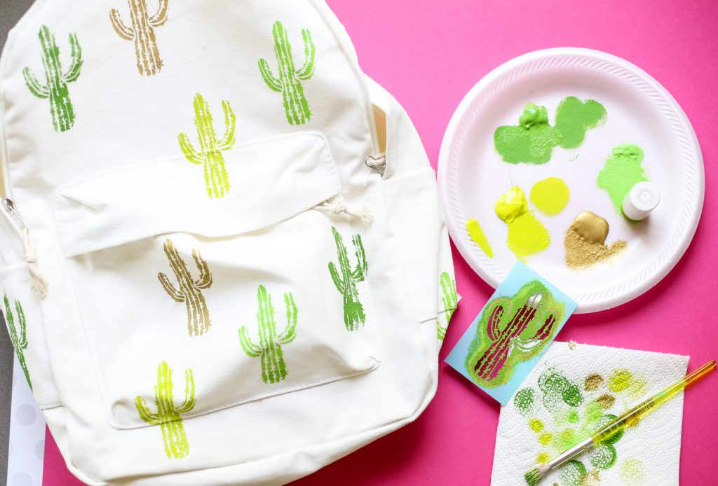 Diy craft backpack idea cactus 4