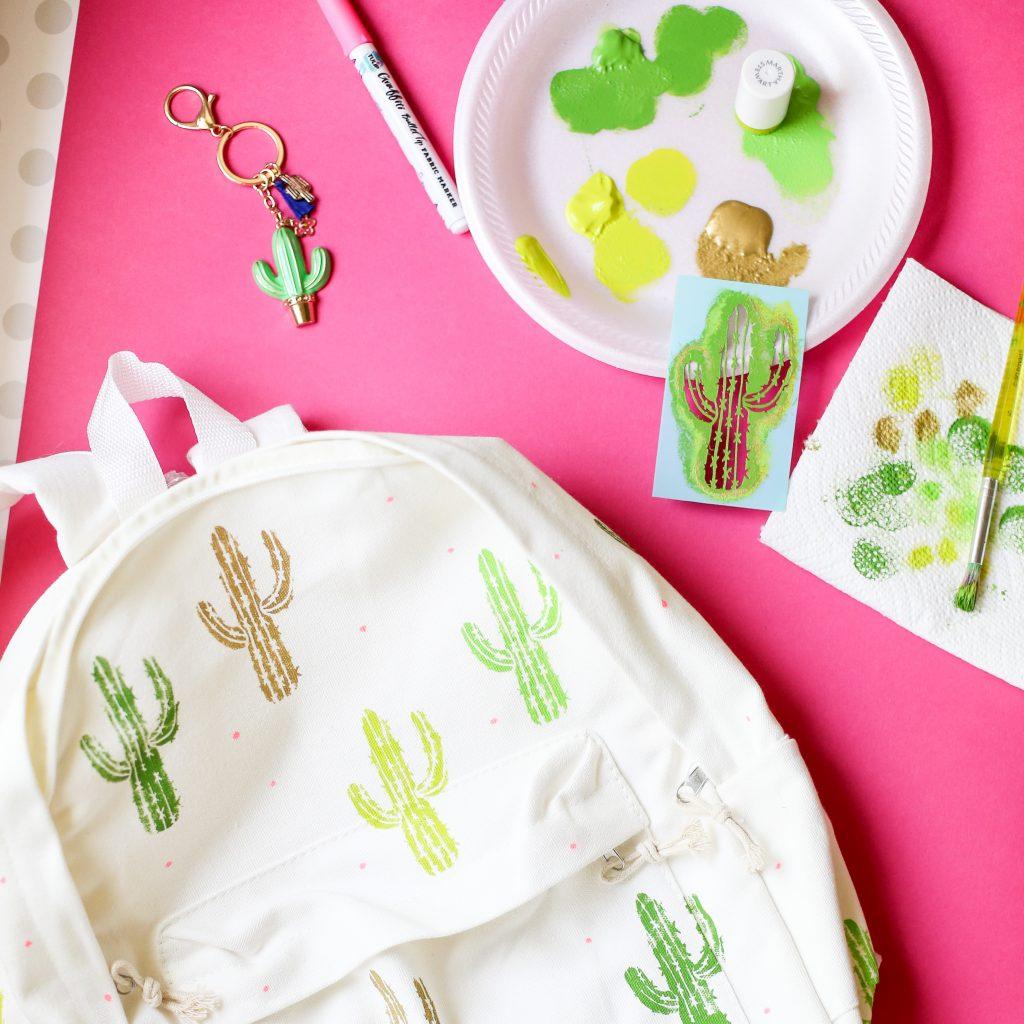 Diy craft backpack idea cactus 6