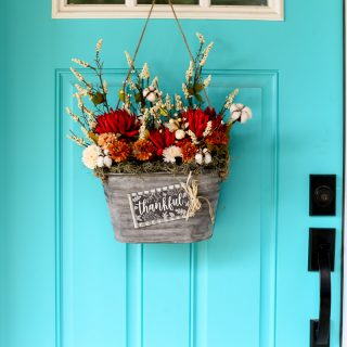 Fall decor floral door bucket wreath idea 13