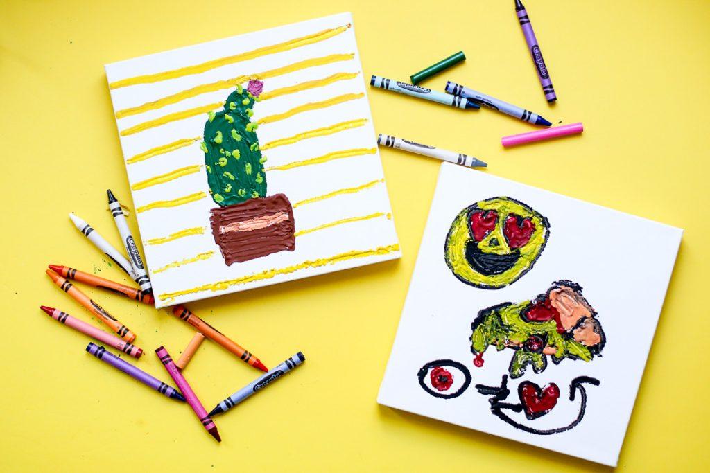 Melted crayon art kids craft 3