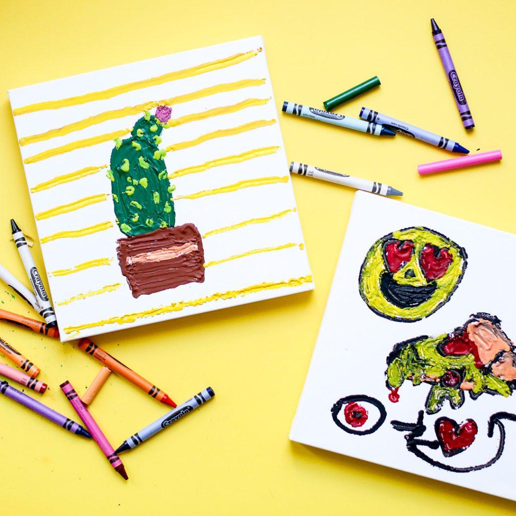 Melted crayon art kids craft 4