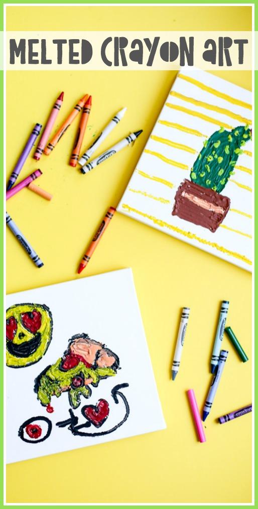 Melted crayon art kids craft idea