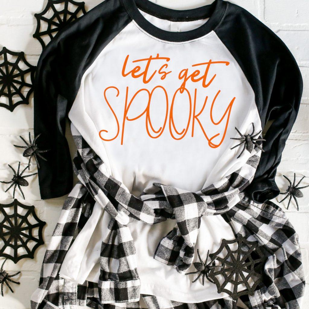 Diy halloween tee svg cut file lets get spooky spiders