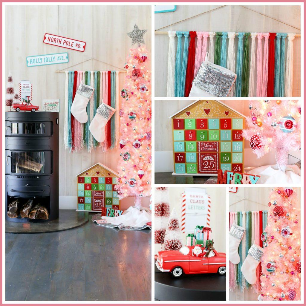Pink tree vintage merry memories christmas idea