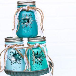 Snowflake mason jar gift idea 10