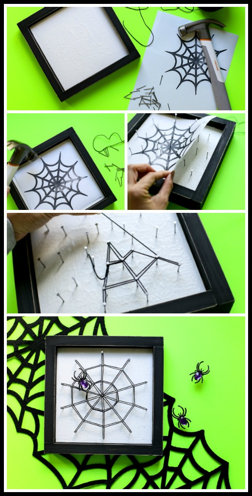 Spiderweb string art craft idea for fall