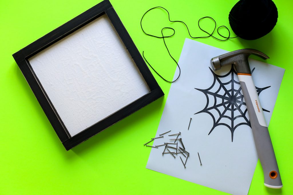 Spiderweb string art halloween craft idea 30
