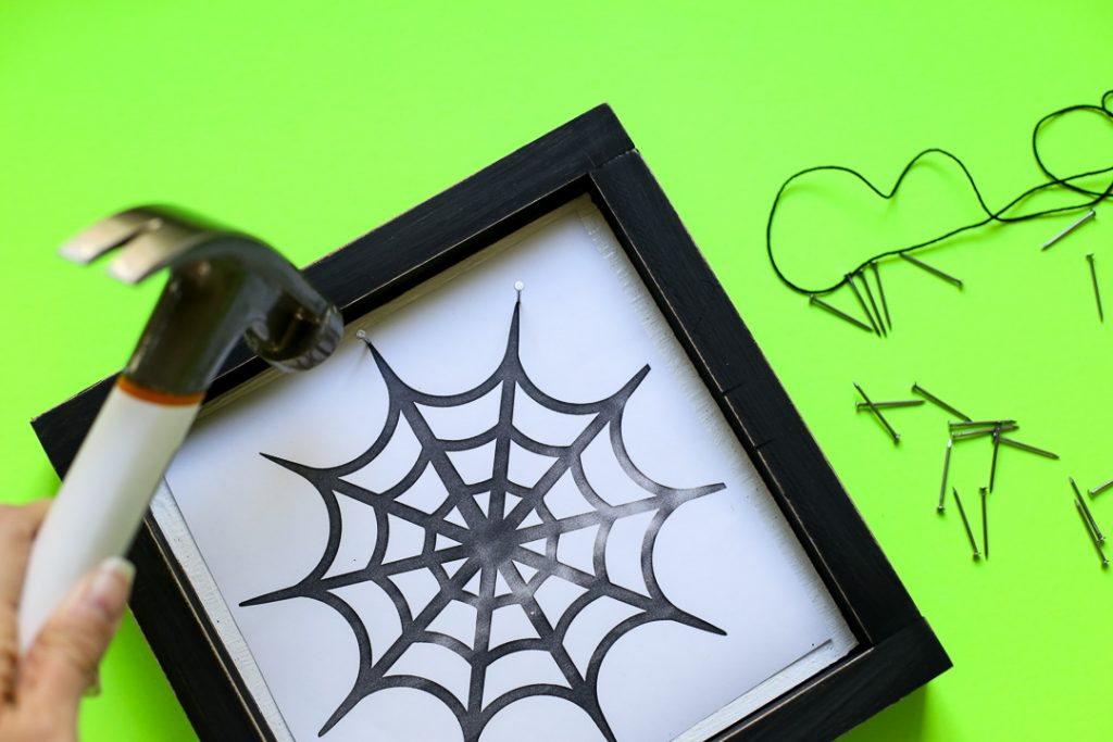 Spiderweb string art halloween craft idea 31