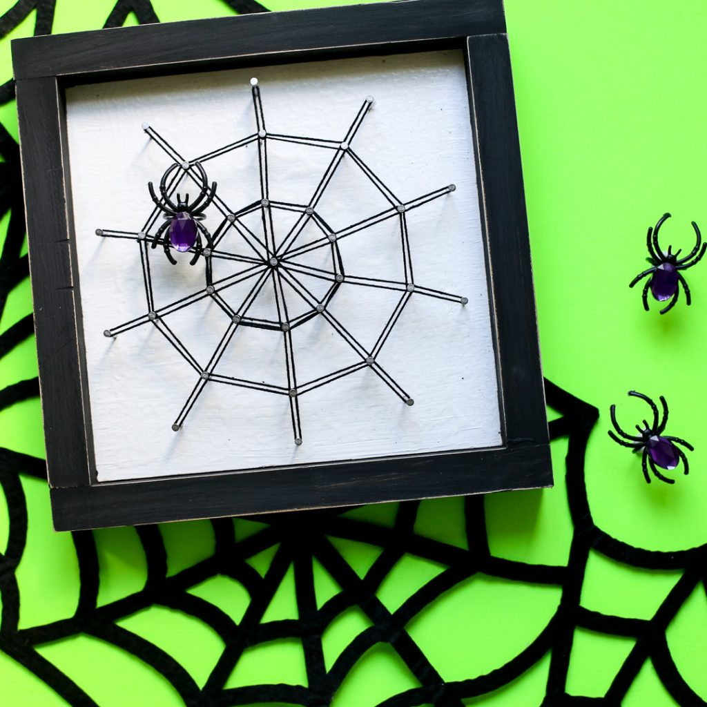 Spiderweb string art halloween craft idea 38