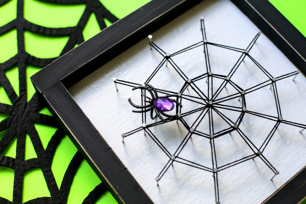 Spiderweb string art halloween craft idea 40