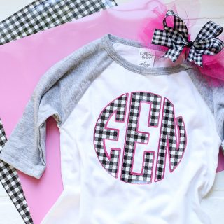 Buffalo plaid vinyl monogram tee idea 3