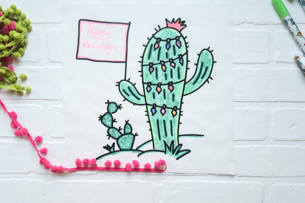 Christmas cactus pillow coloring 1