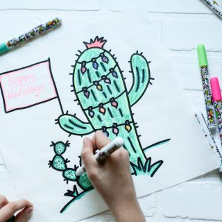 Christmas cactus pillow coloring 5