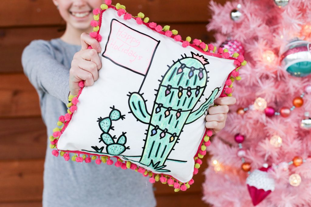 Christmas cactus pillow coloring 6