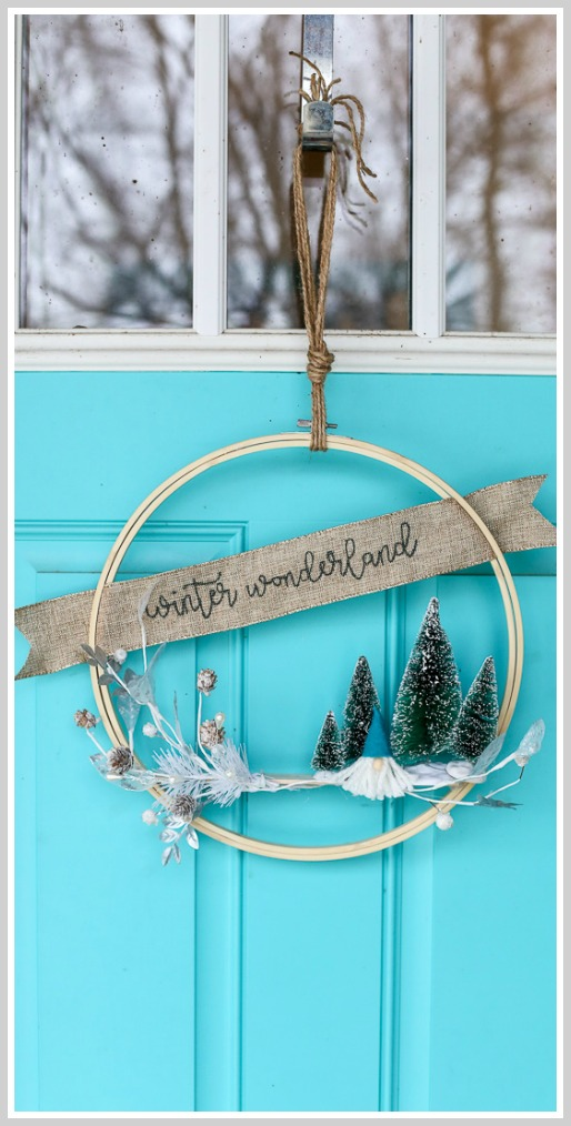 Winter hoop wreath idea with gnome