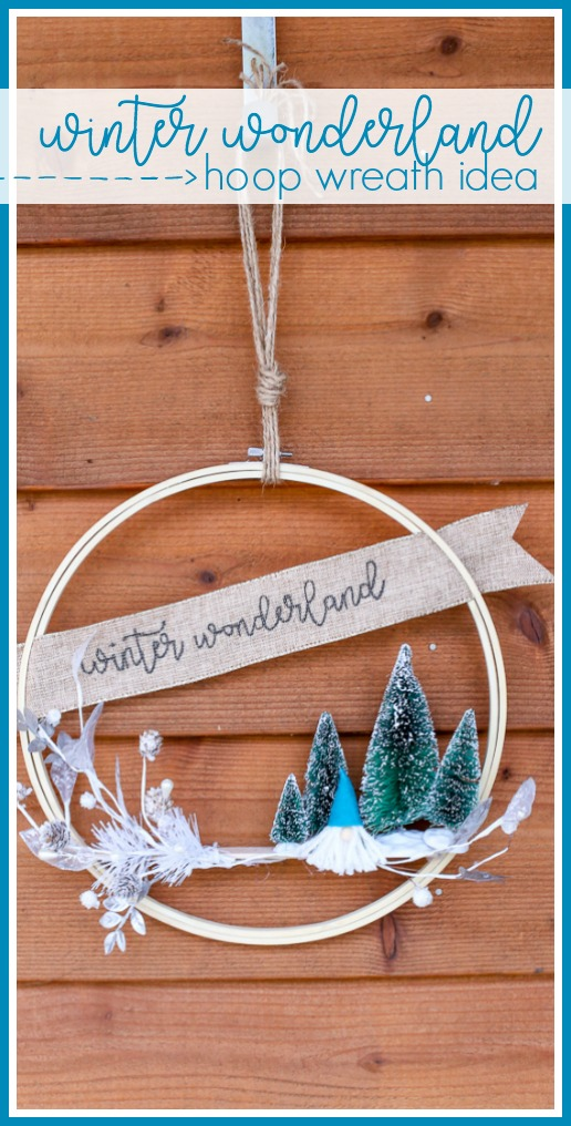 Winter hoop wreath with gnome idea