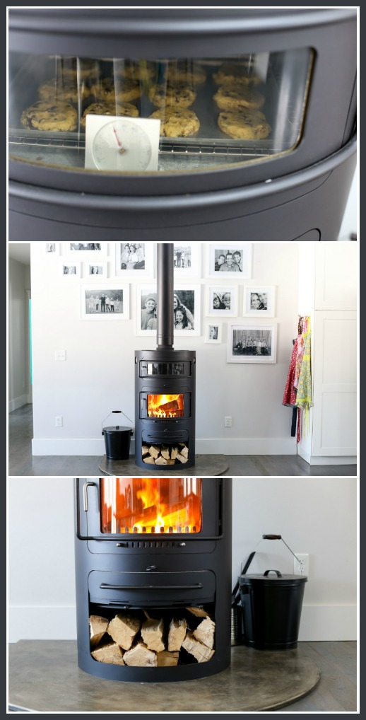Woodburning stove modern with pizza oven for baking