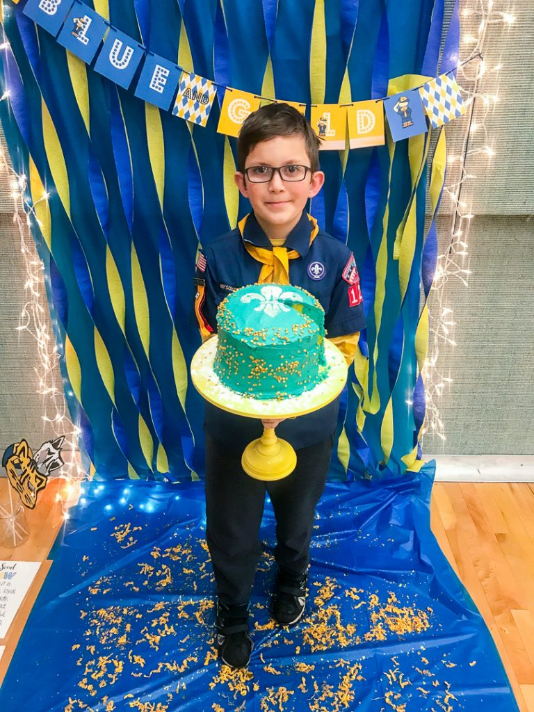 Cool Blue And Gold Cake For Cub Scouts Sugar Bee Crafts Funny Birthday Cards Online Aboleapandamsfinfo
