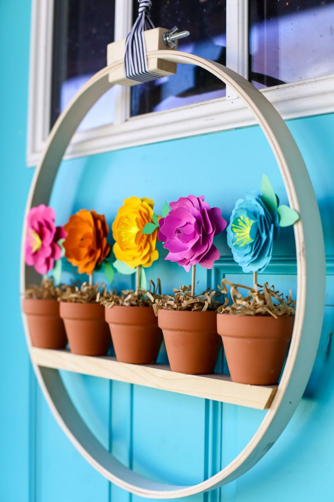 Mini flower pot wreath craft idea 11