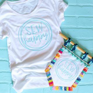 Sew happy banner decal tshirt 10