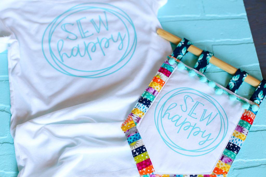 Sew happy banner decal tshirt 11