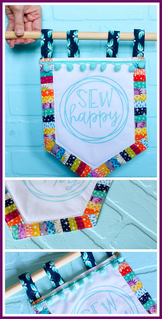 Sewing banner simple craft idea with heat transfer vinyl