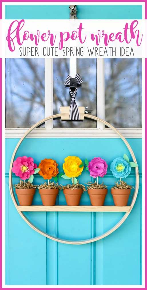 Spring wreath idea flower pot wreath